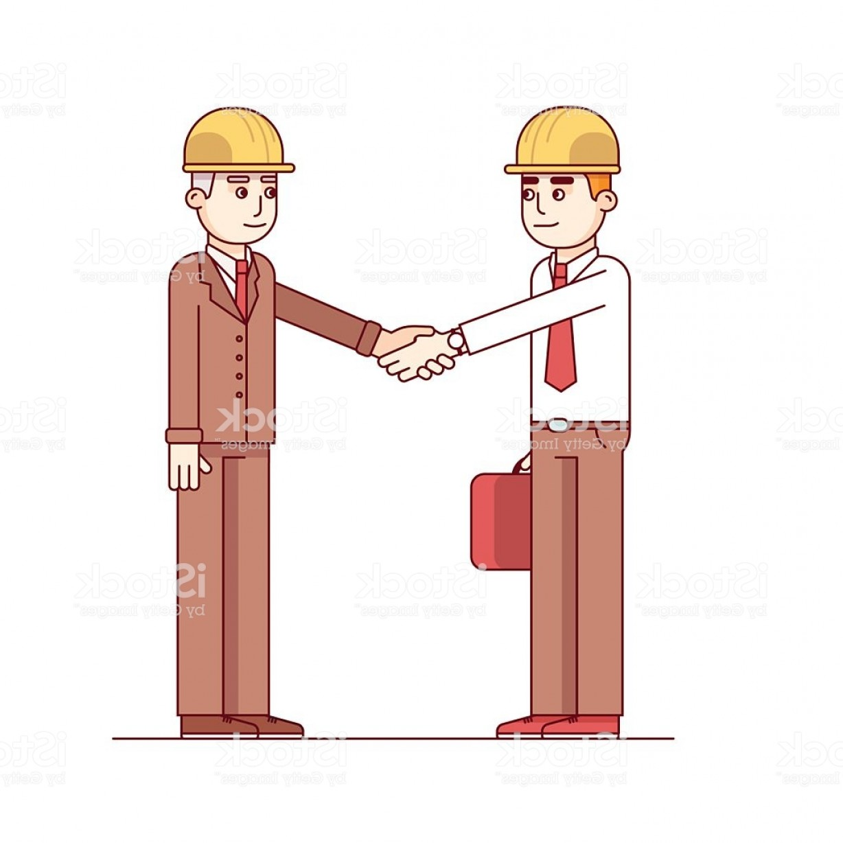 Handshake Clip Art Vector: Business Man And Engineer Standing Shaking Hands Gm