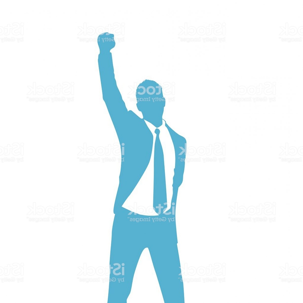 Holding Hands Up Silhouette Vector: Business Man Silhouette Excited Hold Hands Up Gm