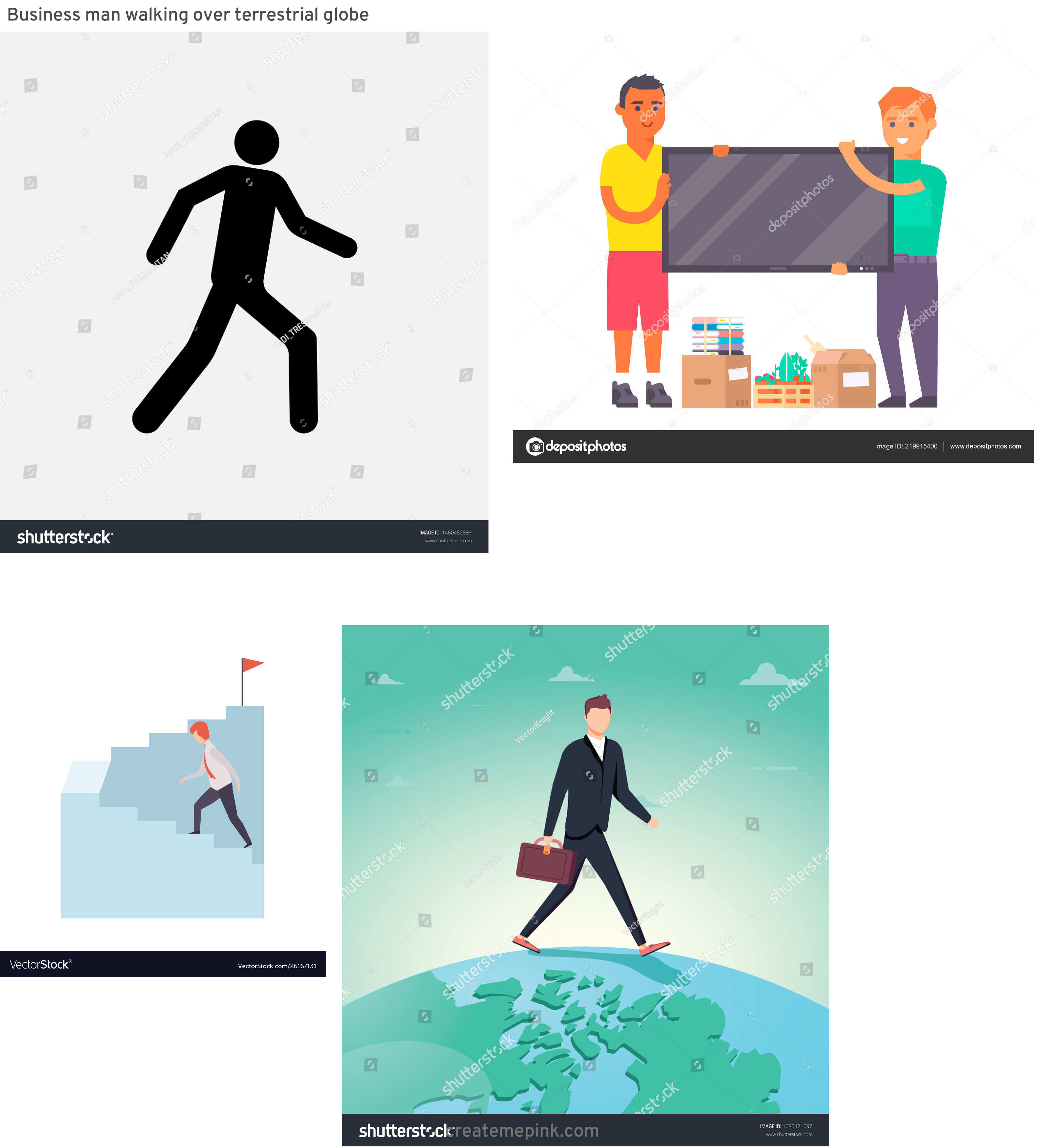 Vector Person Moving: Business Man Walking Over Terrestrial Globe