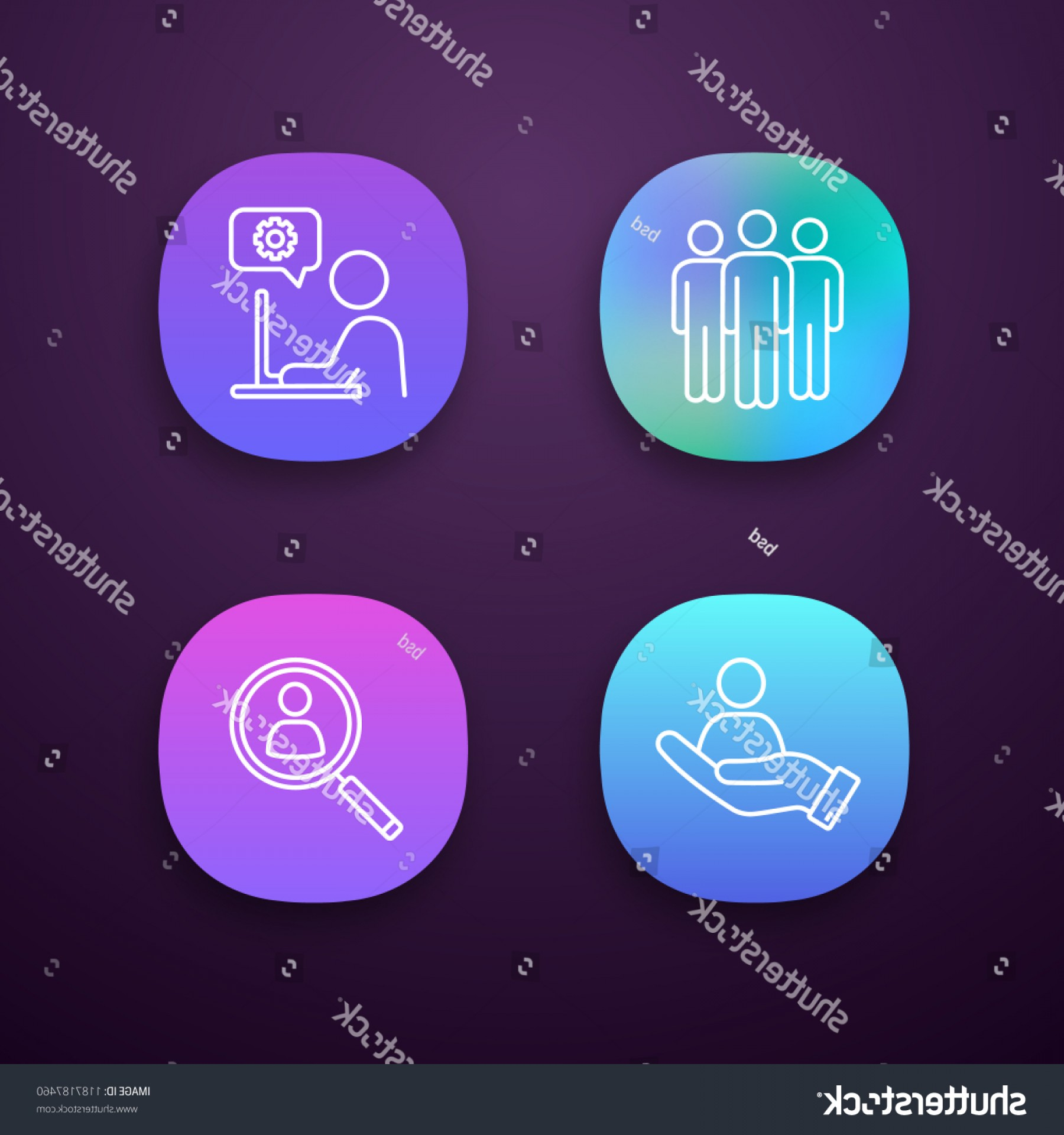 Support Staff Vector: Business Management App Icons Set Team