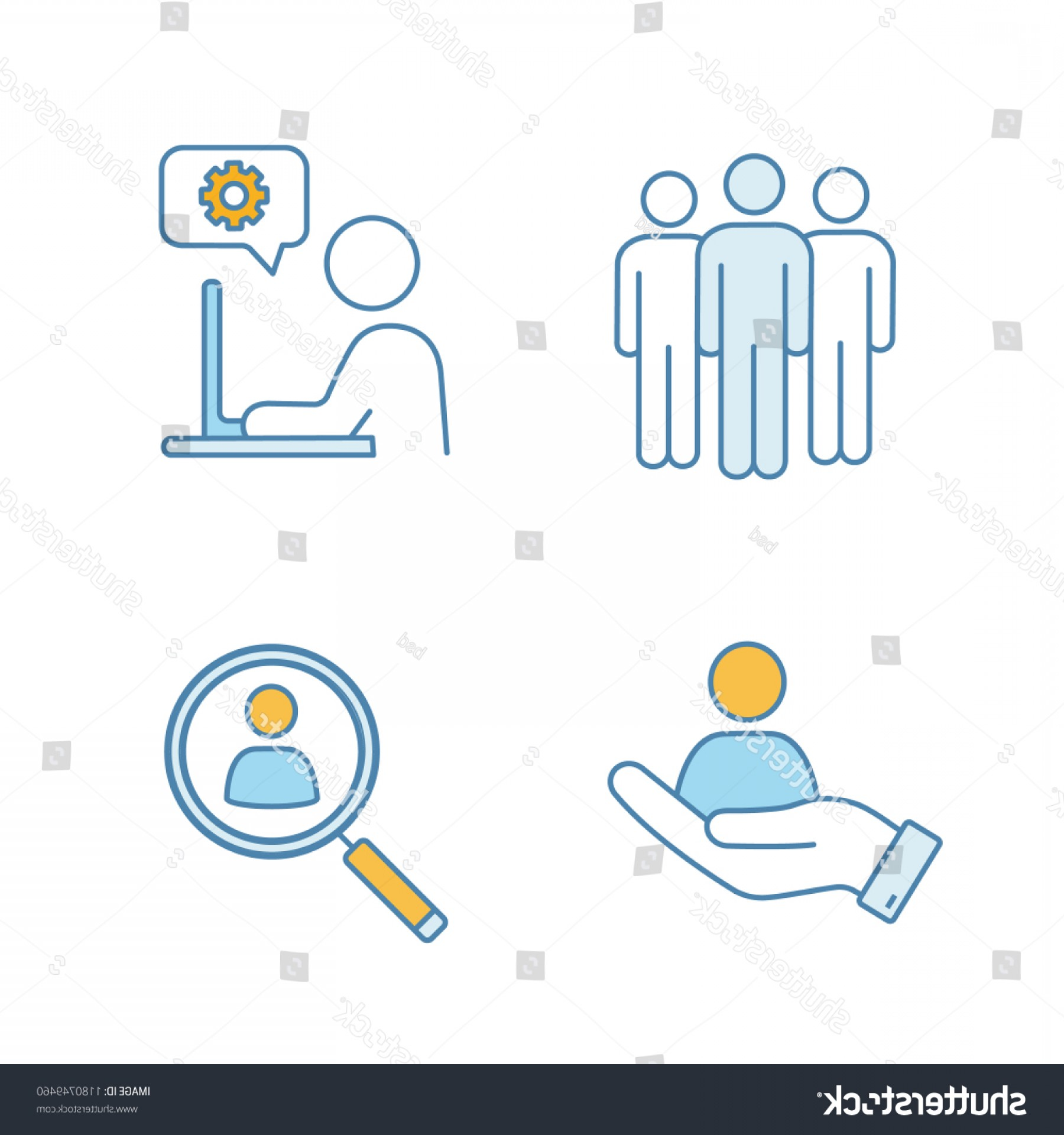 Support Staff Vector: Business Management Color Icons Set Team