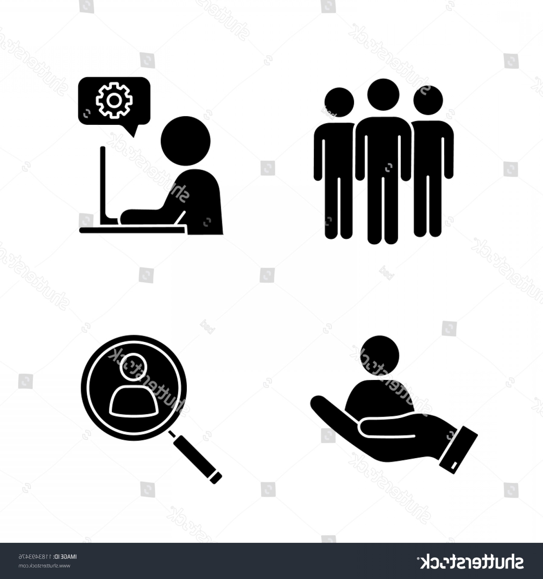 Support Staff Vector: Business Management Glyph Icons Set Team