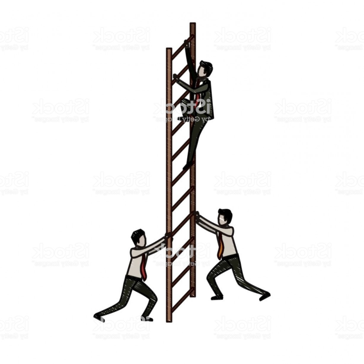 Stair Climb Vector: Business Men Climbing Wooden Stairs In Pencils Colored Silhouette Gm
