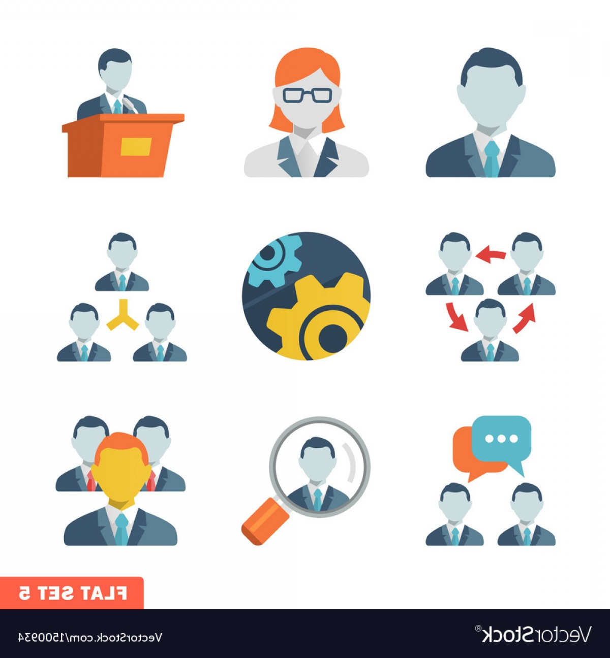 Free Vector Business People Icon: Business People Flat Icons Vector