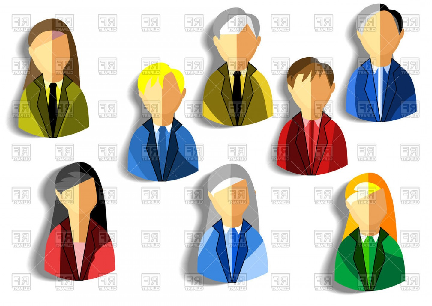 Free Vector Business People Icon: Business People Icons Flat Design Vector Clipart