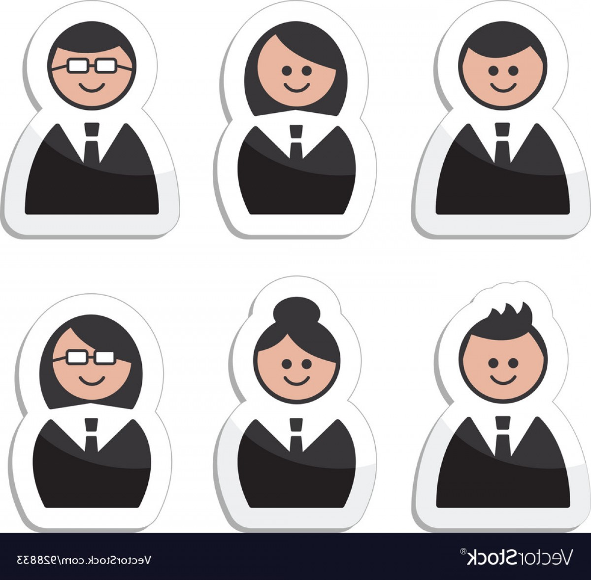 Free Vector Business People Icon: Business People Icons Set Labels Vector