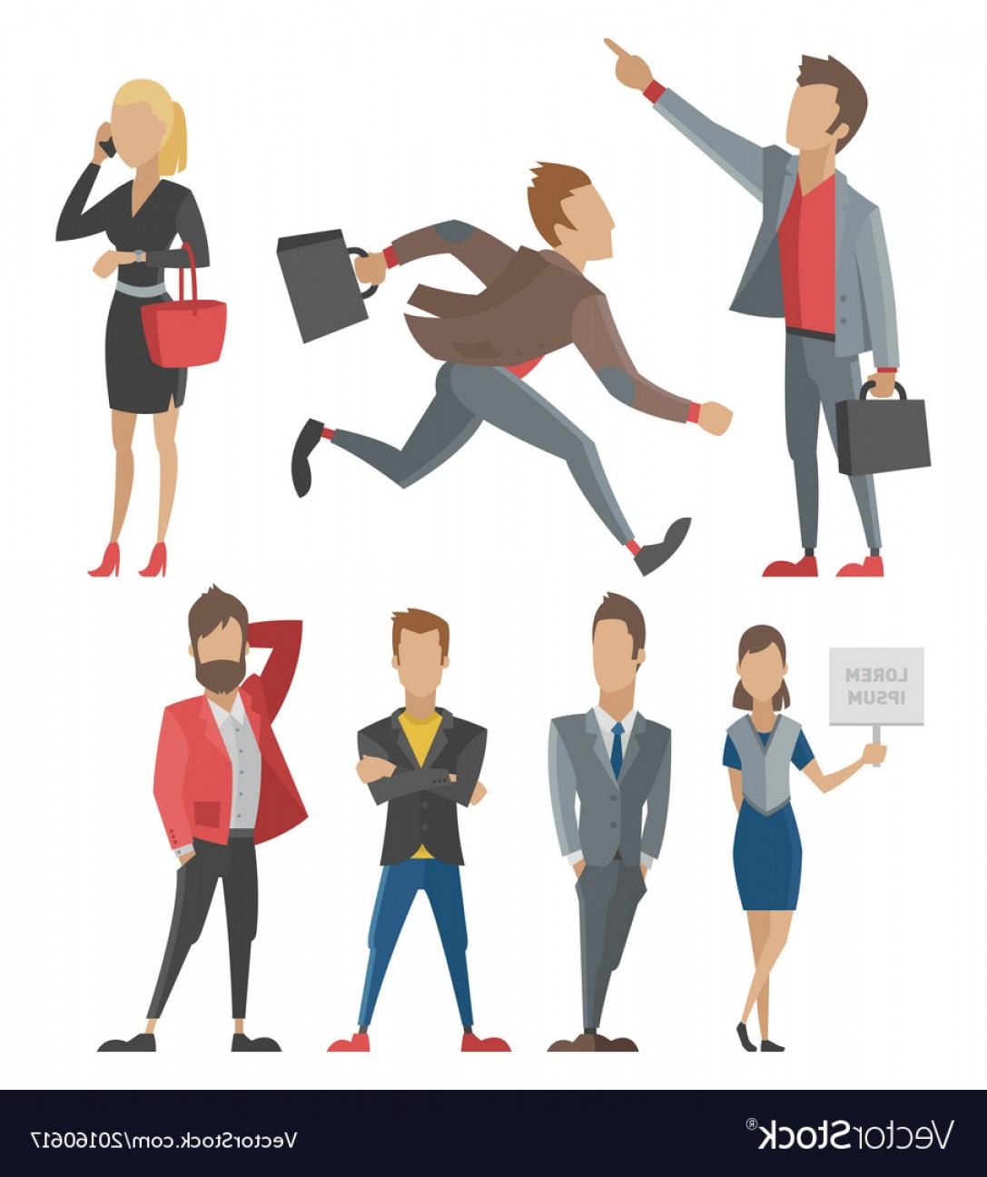 Vector People Man: Business People Man And Woman Full Length Vector
