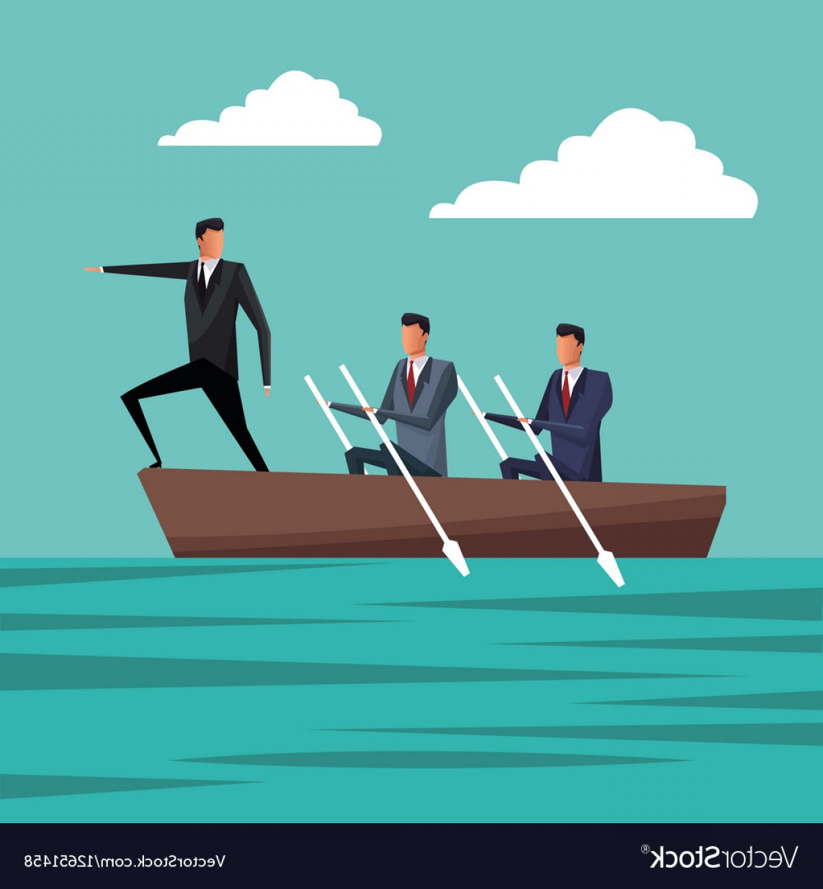 Growth Vector People: Business People Paddling Team Work Manager Growth Vector