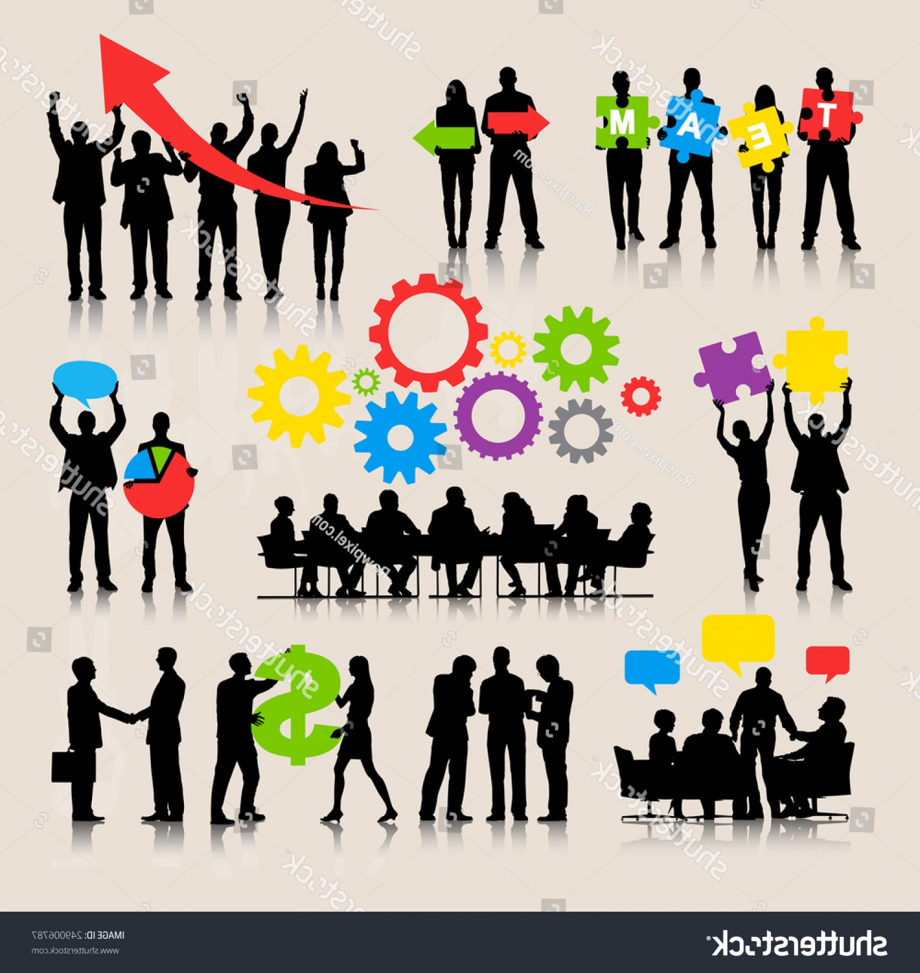 Growth Vector People: Business People Team Growth Success Corporate