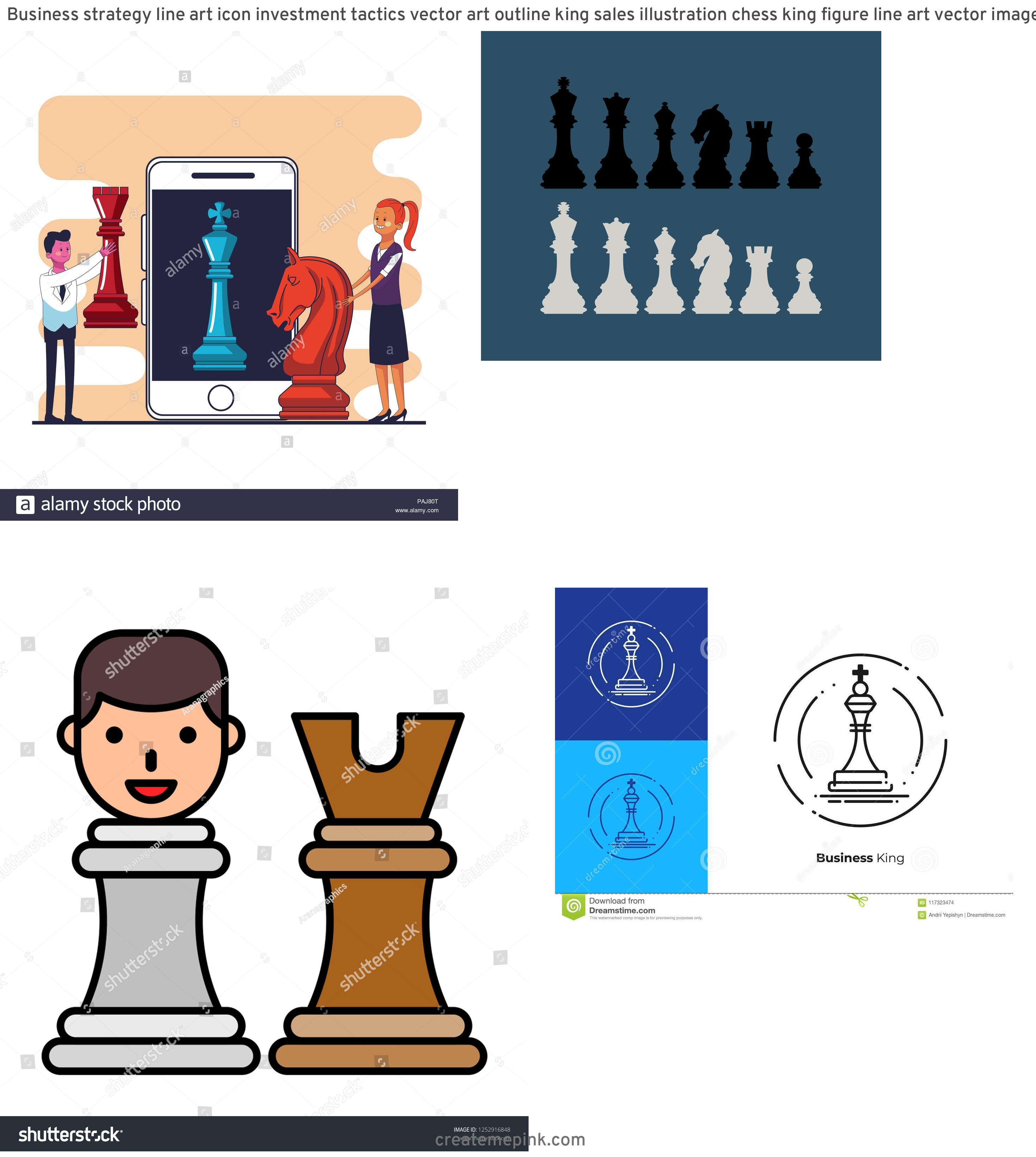 Chess Vector Graphic: Business Strategy Line Art Icon Investment Tactics Vector Art Outline King Sales Illustration Chess King Figure Line Art Vector Image