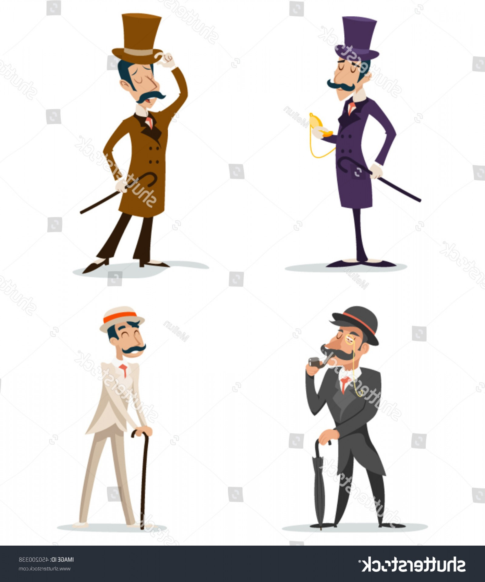Victorian Vector Characters: Business Victorian Gentleman Meeting Cartoon Character