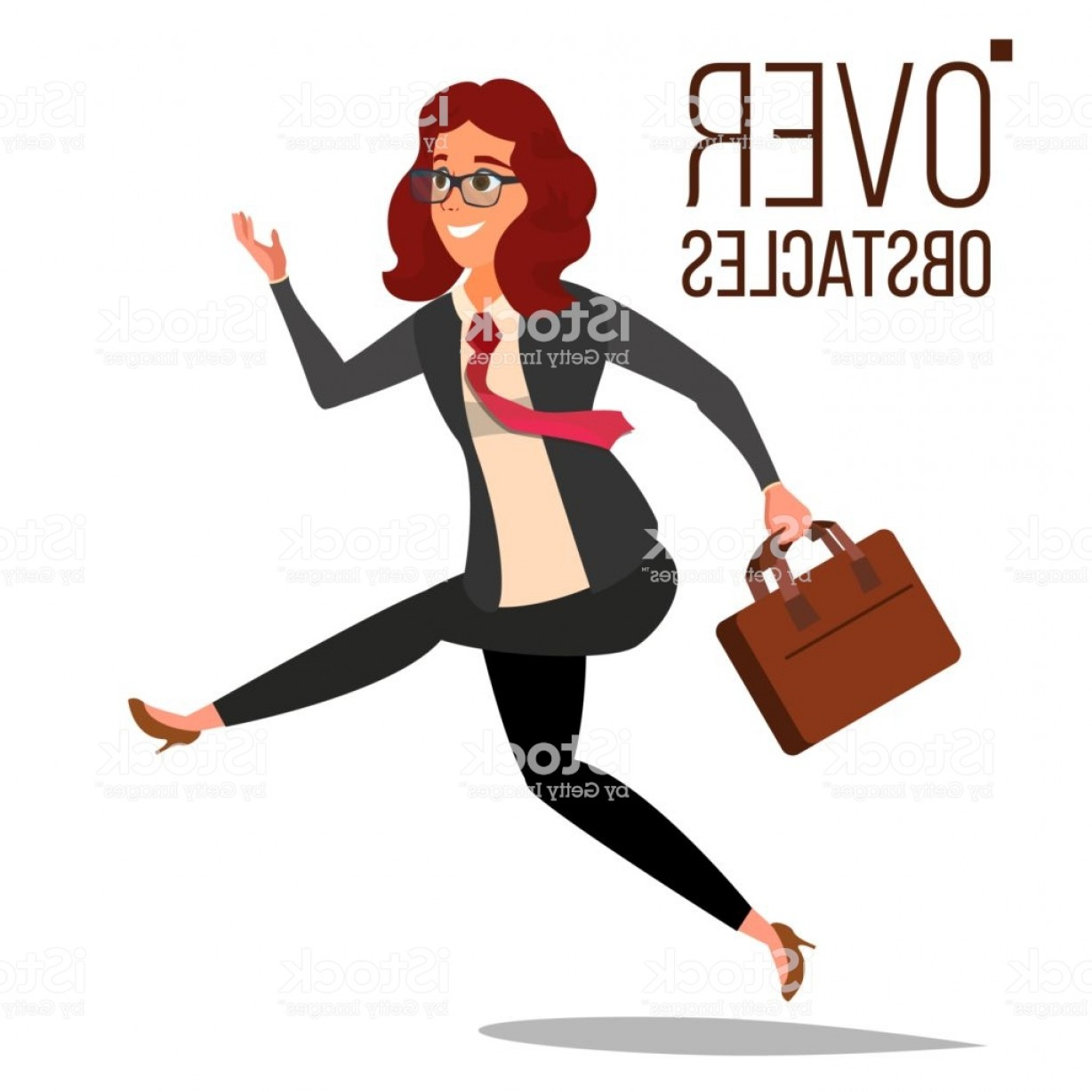 Vector Professional Goal: Business Woman Jumping Over Obstacles Vector Leader Competing Race Overcoming Gm
