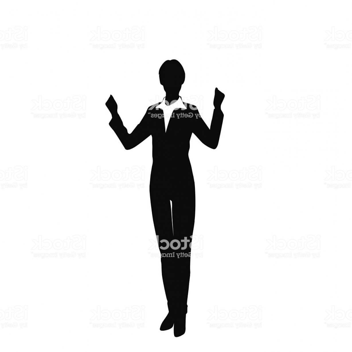 Holding Hands Up Silhouette Vector: Business Woman Silhouette Excited Hold Hands Up Gm