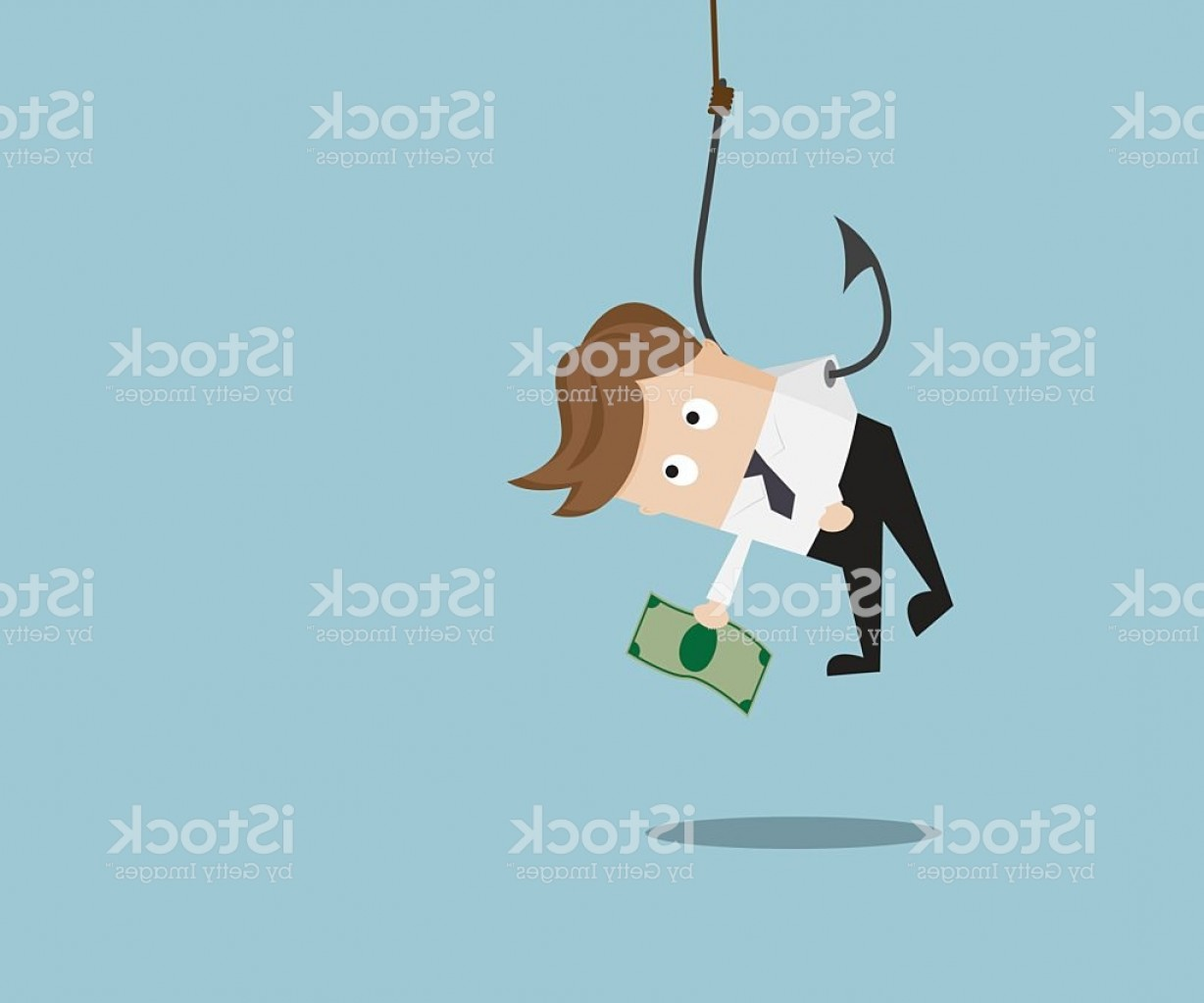 Catching Fish Hook Vector Art: Businessman Catch Money By Hanging With Fishing Hook Gm