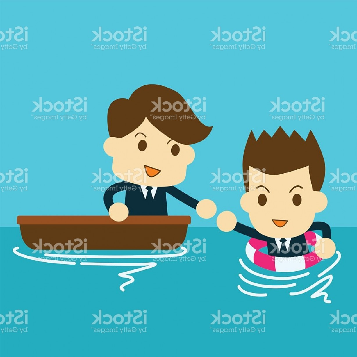 Man Drowning Vector: Businessman Help A Drowning Man In Sea Gm