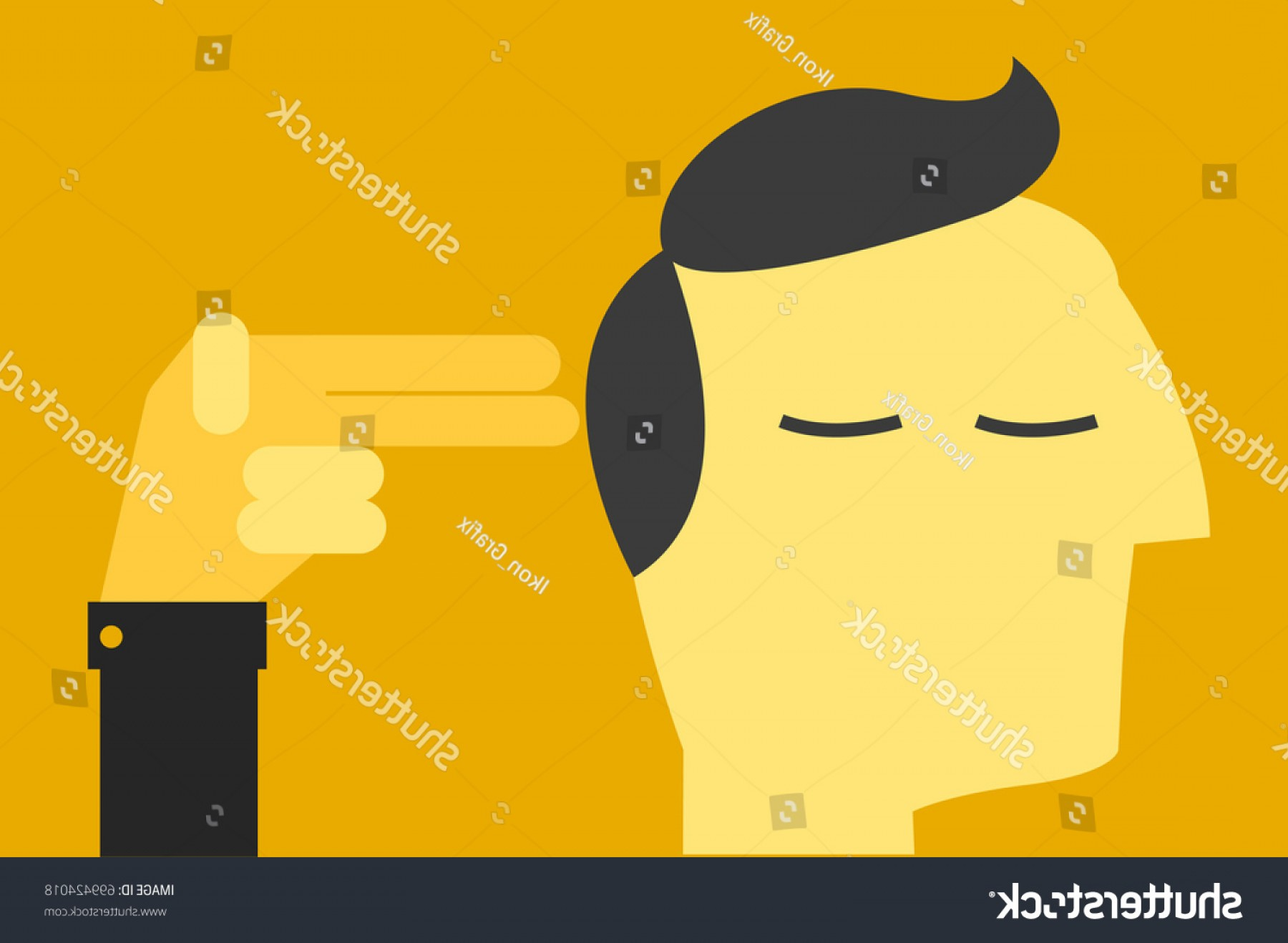 Finger Gun To Head Vector: Businessman Hold His Fingers Head Suicidal