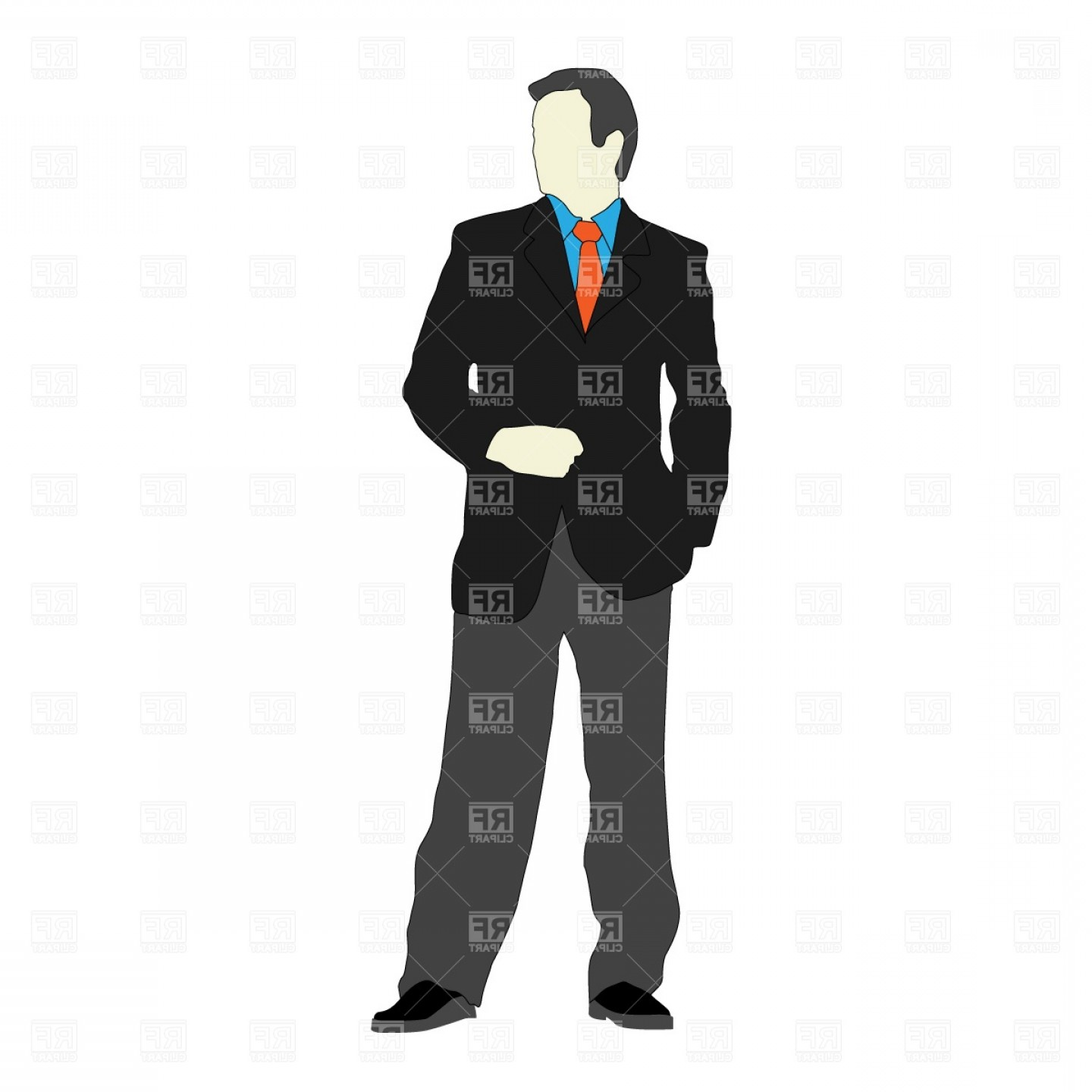 Male Silhouette Vector Art: Businessman In Suit With Hand In Pocket Vector Clipart