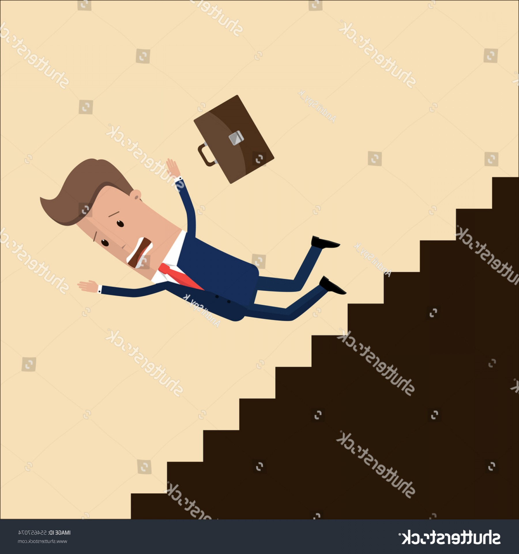Vector Career Ladder: Businessman Manager Fall Down Career Ladder