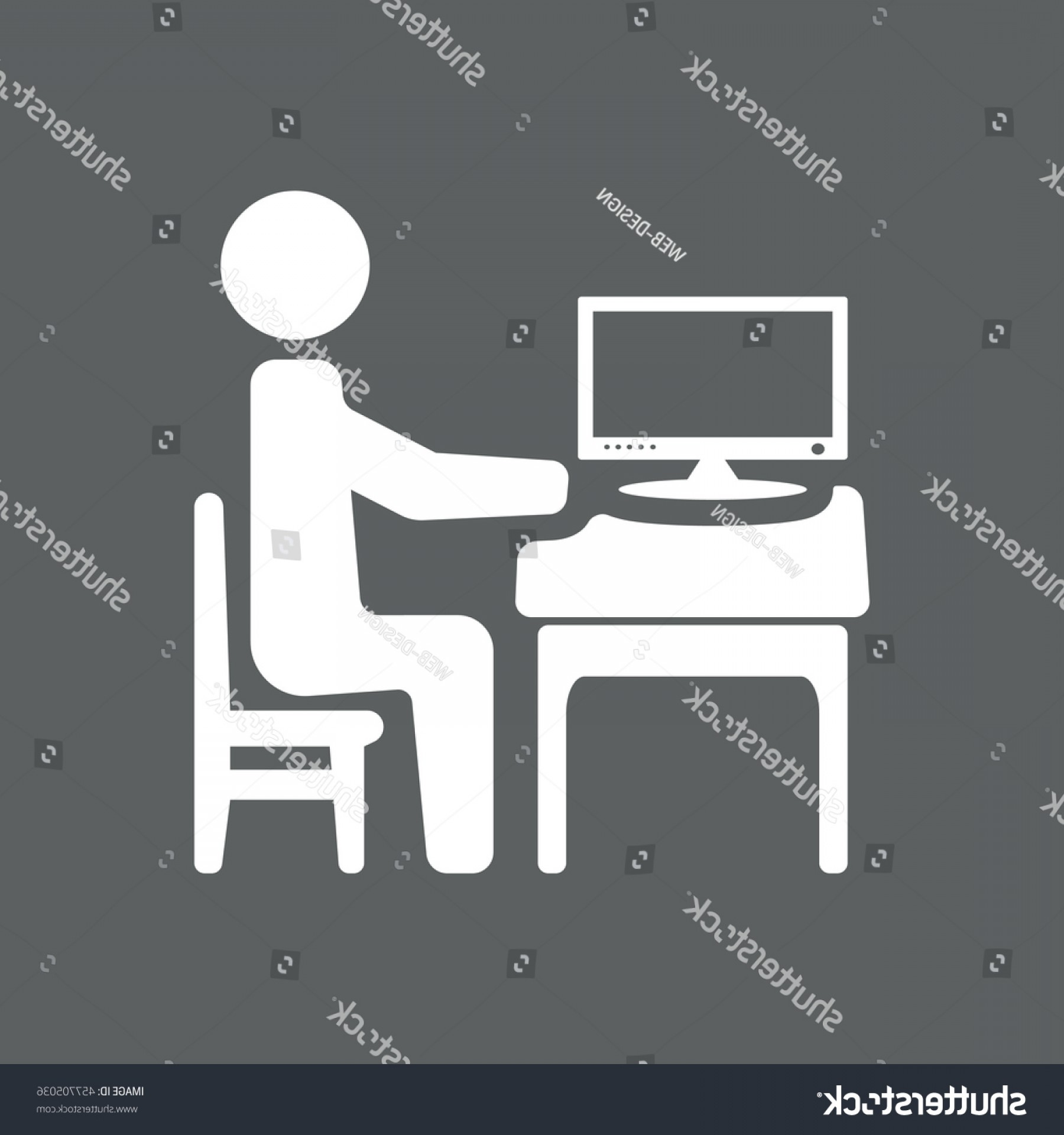 Computer Vector Icon Flat: Businessman Working On Computer Vector Icon