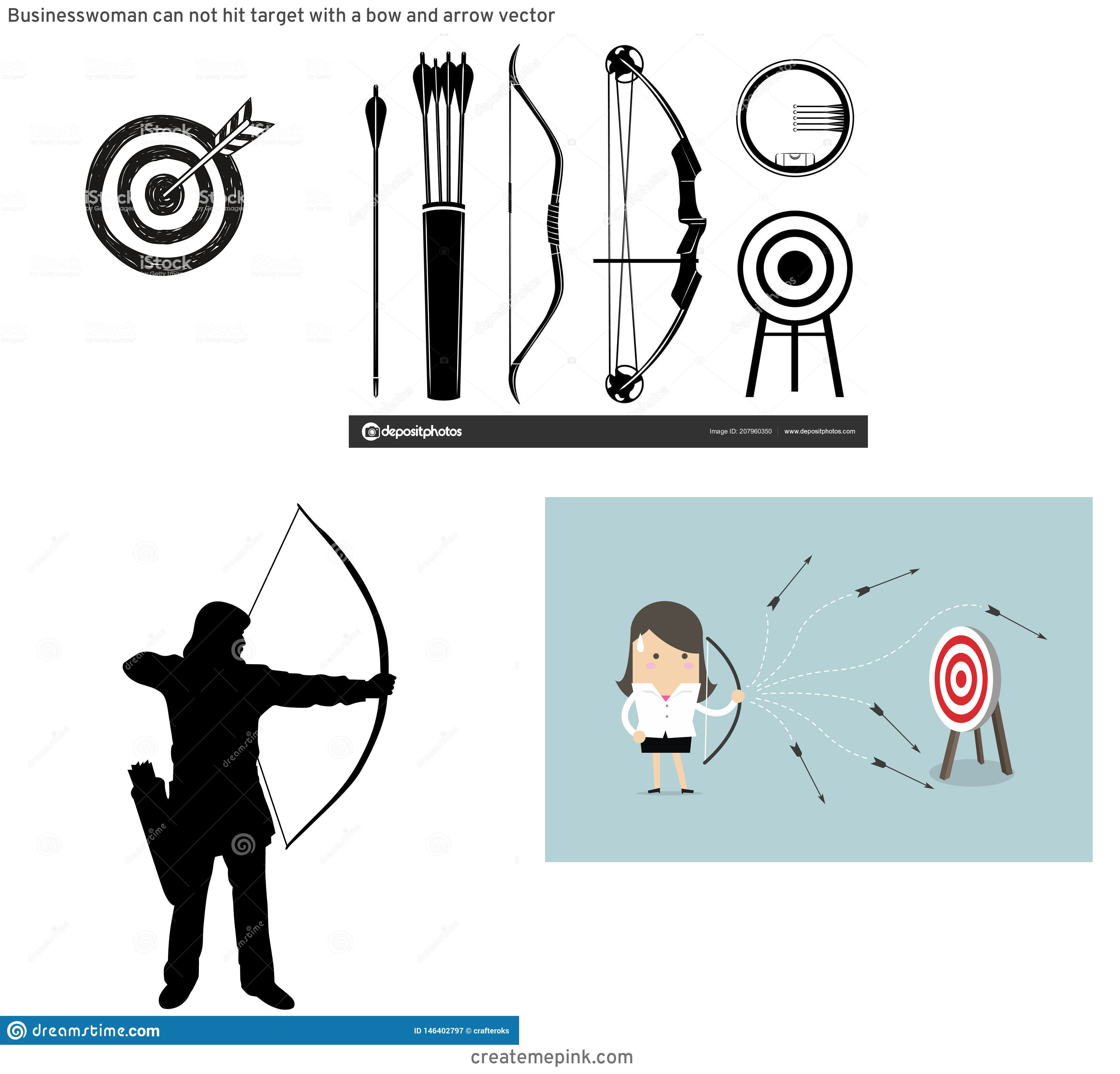 Target Bow And Arrow Vector: Businesswoman Can Not Hit Target With A Bow And Arrow Vector
