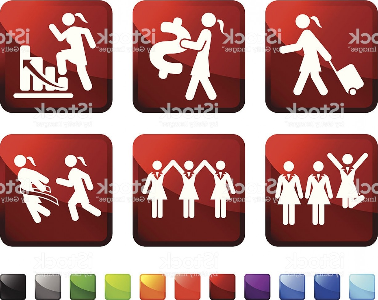 Vector Job Opportunities: Businesswoman For Equal Womens Job Opportunities Vector Icon Set Stickers Gm