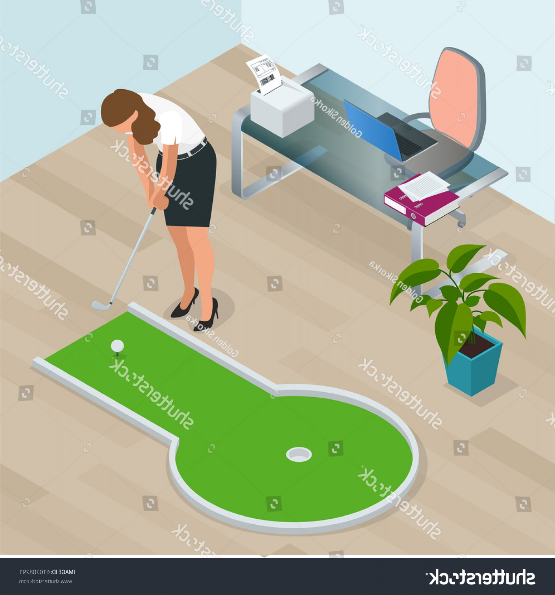 Vector Golf Simulator: Businesswoman Playing Mini Golf His Office