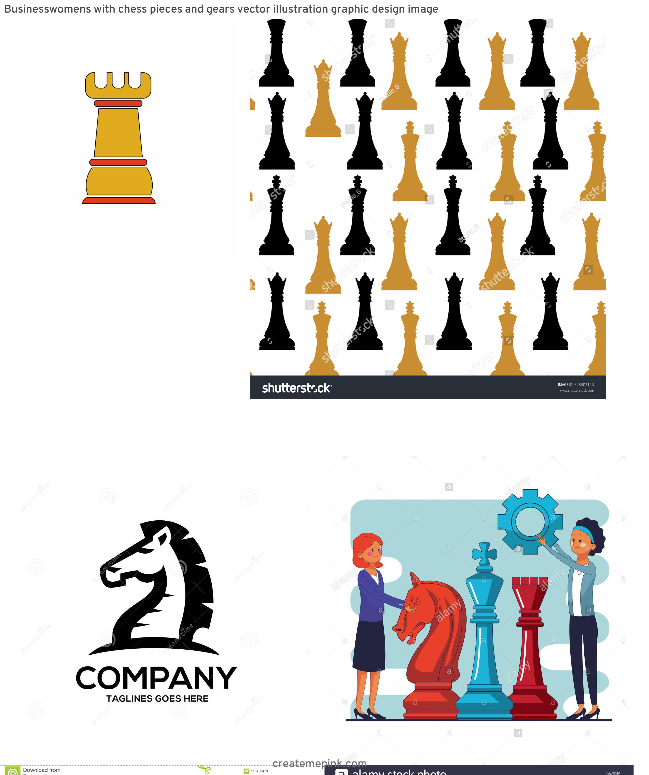 Chess Vector Graphic: Businesswomens With Chess Pieces And Gears Vector Illustration Graphic Design Image