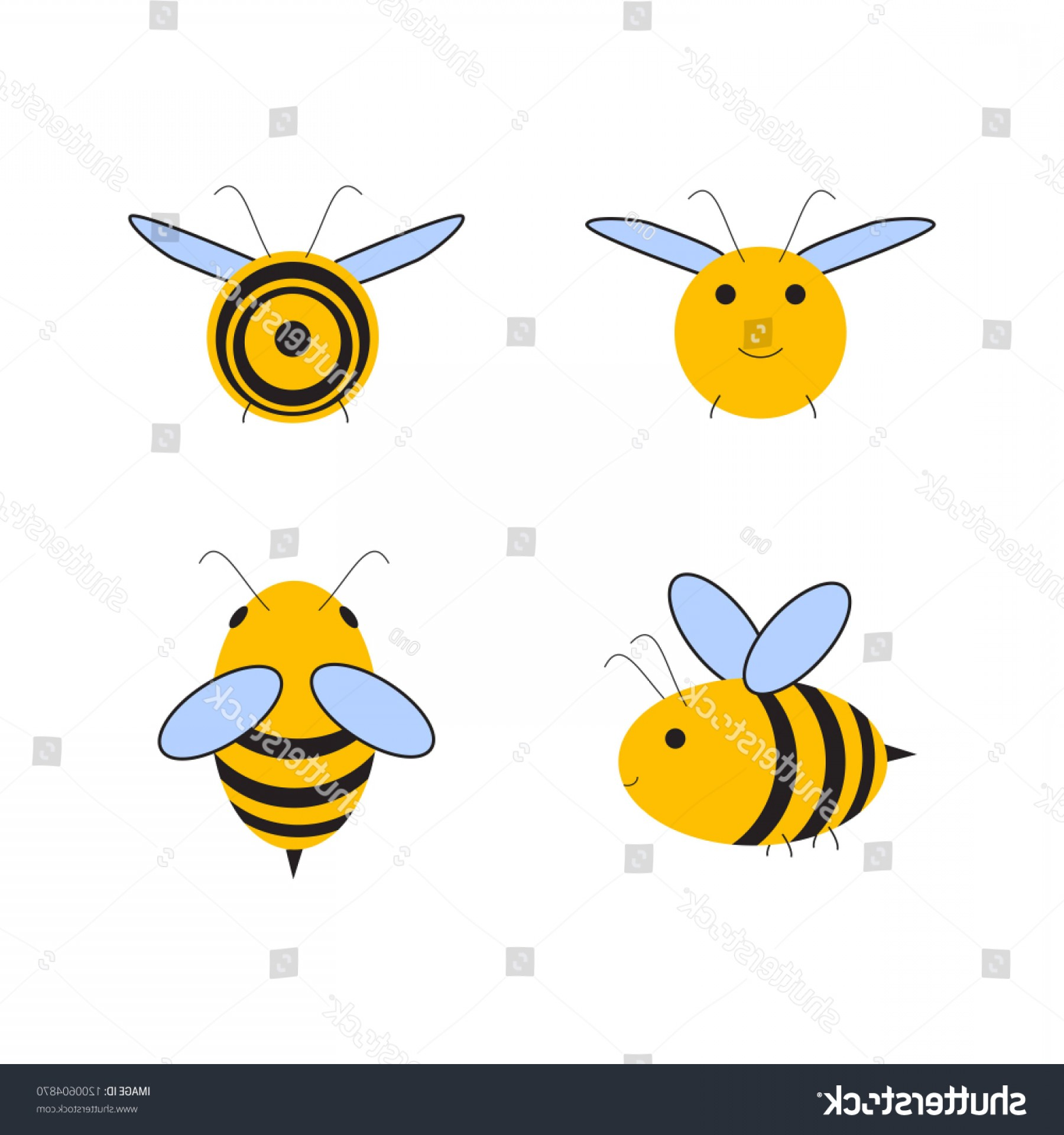 Bee Stinger Back Vector Art: Busy Bee Abstract Flying Honey All