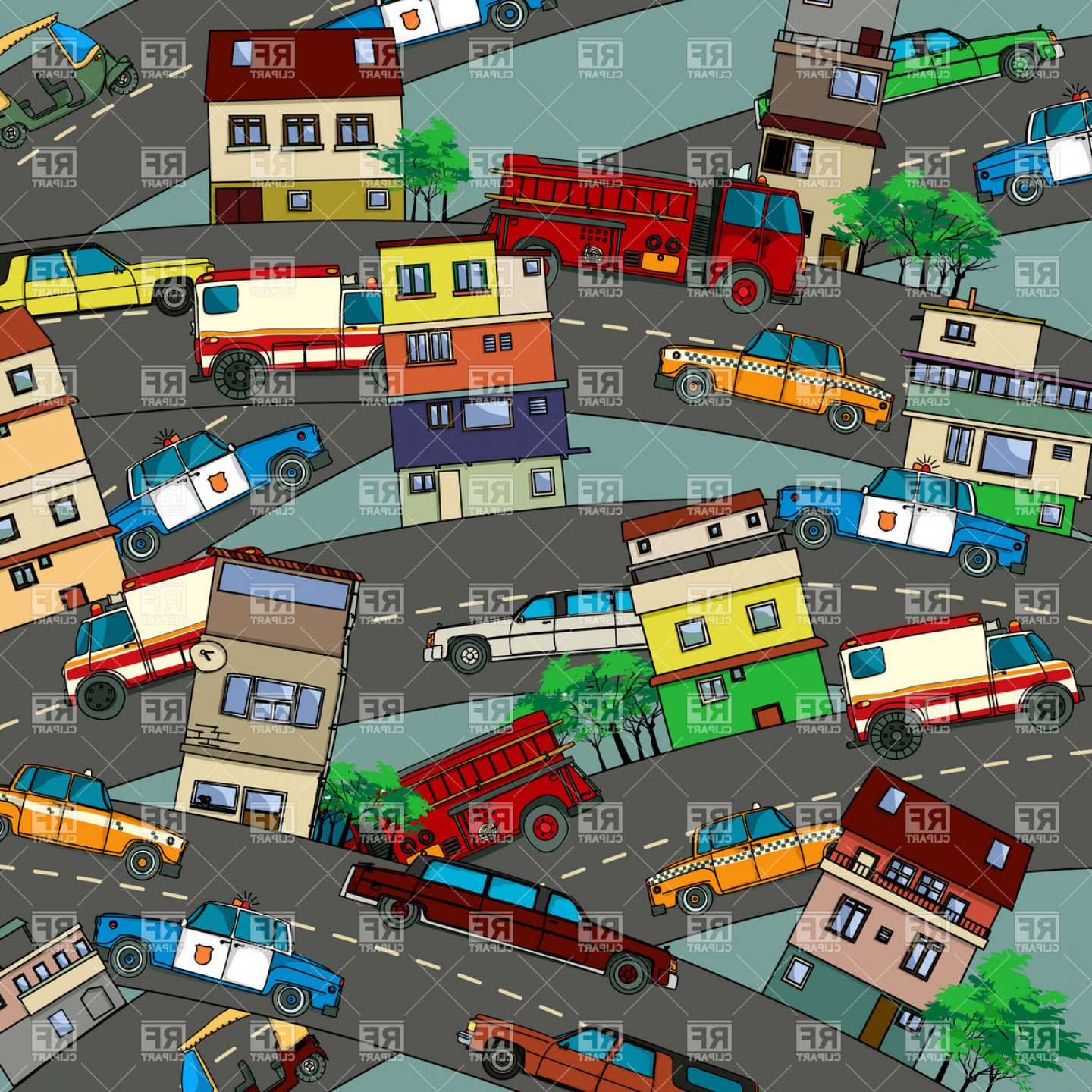 Vector Images Of Cars On Streets: Busy City With Streets Cars And Houses Urban Cityscape With Heavy Traffic Vector Clipart