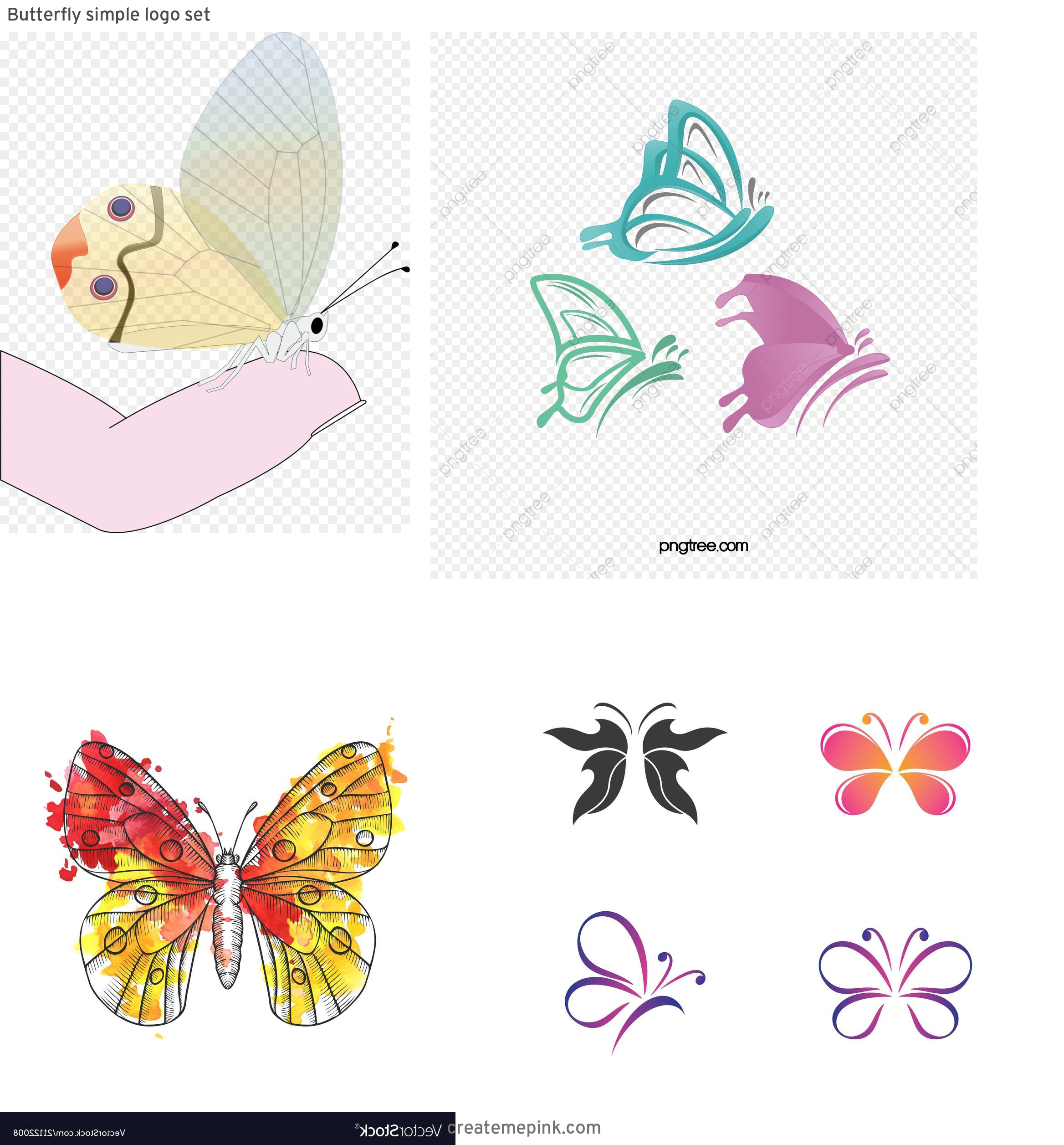 Butterfly Vector Graphics Clip Art: Butterfly Simple Logo Set