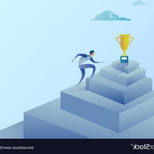 Stair Climb Vector: Business Man Climbing Stairs To Winner Cup Success Vector