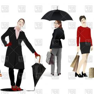 Vector Women's Business: Business Women And Girls With Umbrella In Casual Clothing Vector Clipart