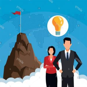 Mountain Peak Vector Art: Businessman And Businesswoman With Big Idea And Mountain Peak Vector Illustration Graphic Design Image