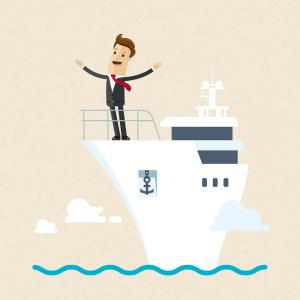 Deck Boats Vector: Businessman Standing On The Deck Of A Ship Vector