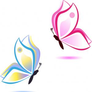 Half Abstract Butterfly Vector: Butterfly Beauty Concept Pink And Blue Vector