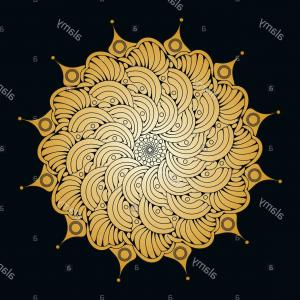 Vector Graphics Outlines: Butterfly Flower Mandala Style In Graphic Outlines Gold On Black Image