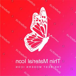 Side Pink Butterfly Vector: Butterfly Side View Detailed Wings Red