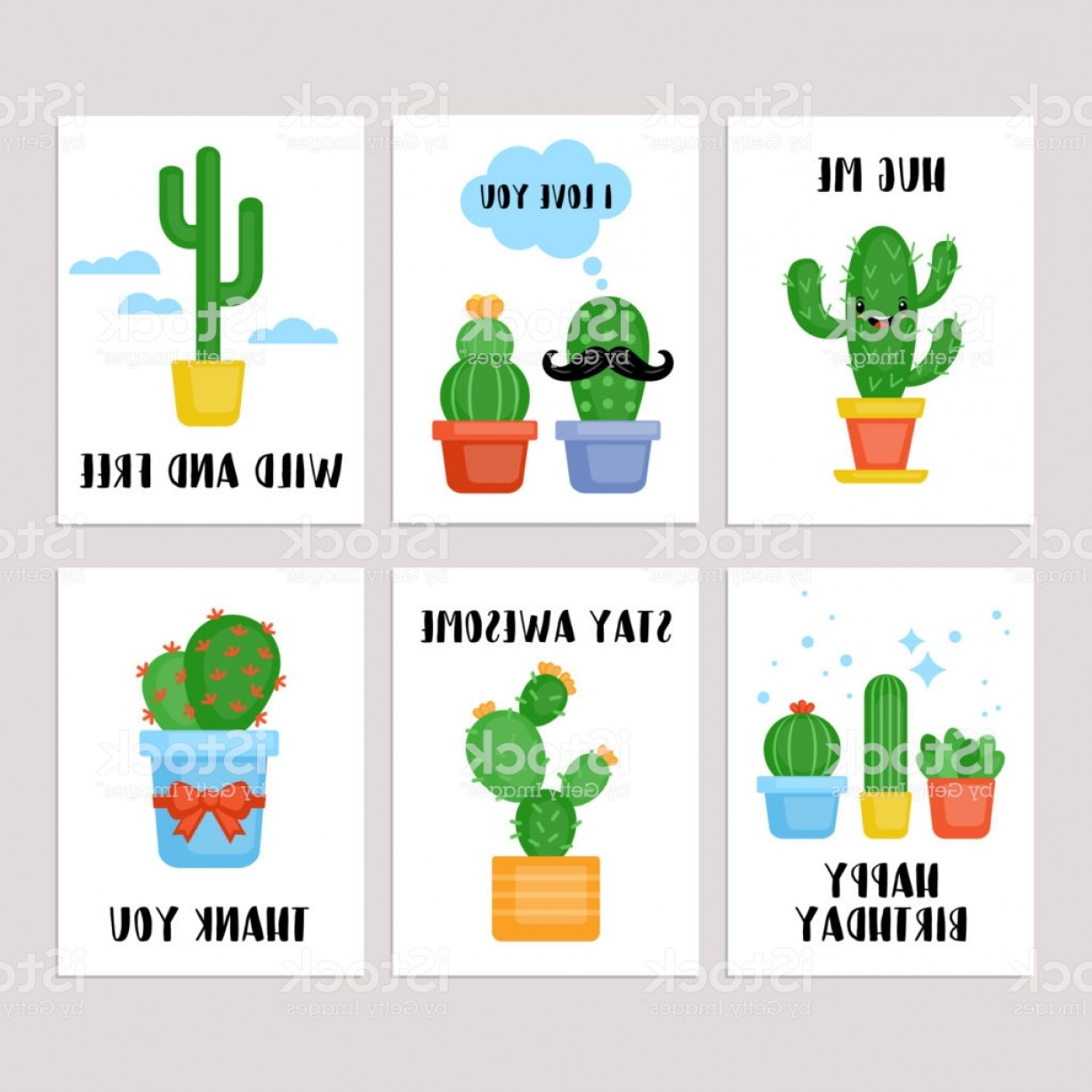 Plant Cards Vector: Cactus And Succulents Plants Greeting Cards Set Gm