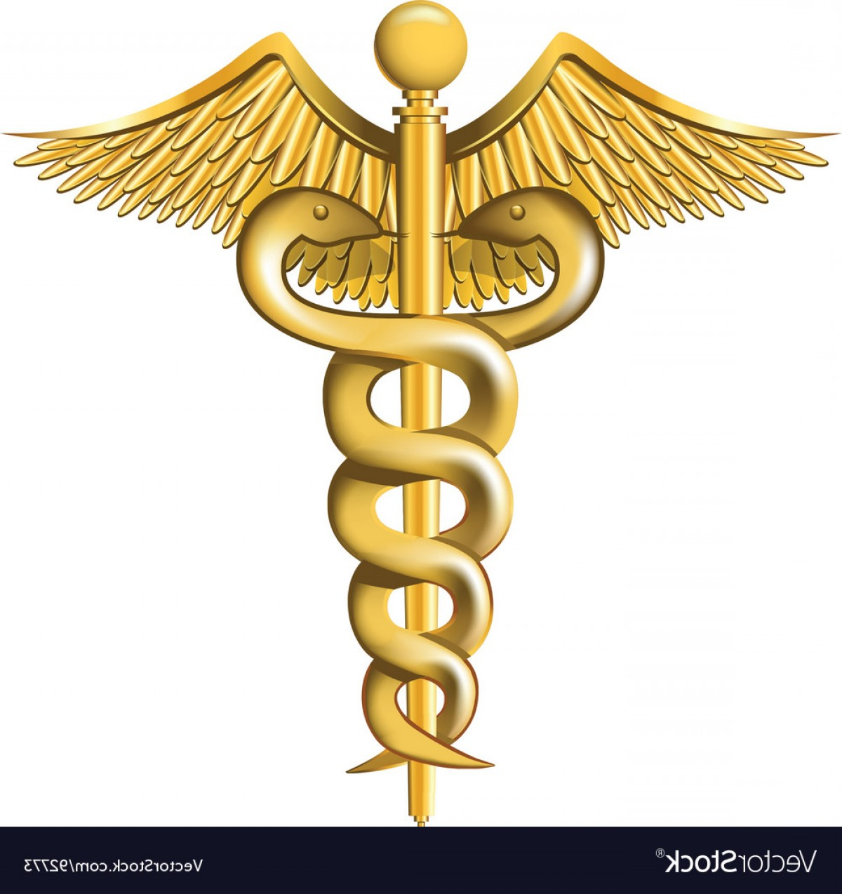 With Red Caduceus Vector: Caduceus On The White Background Vector