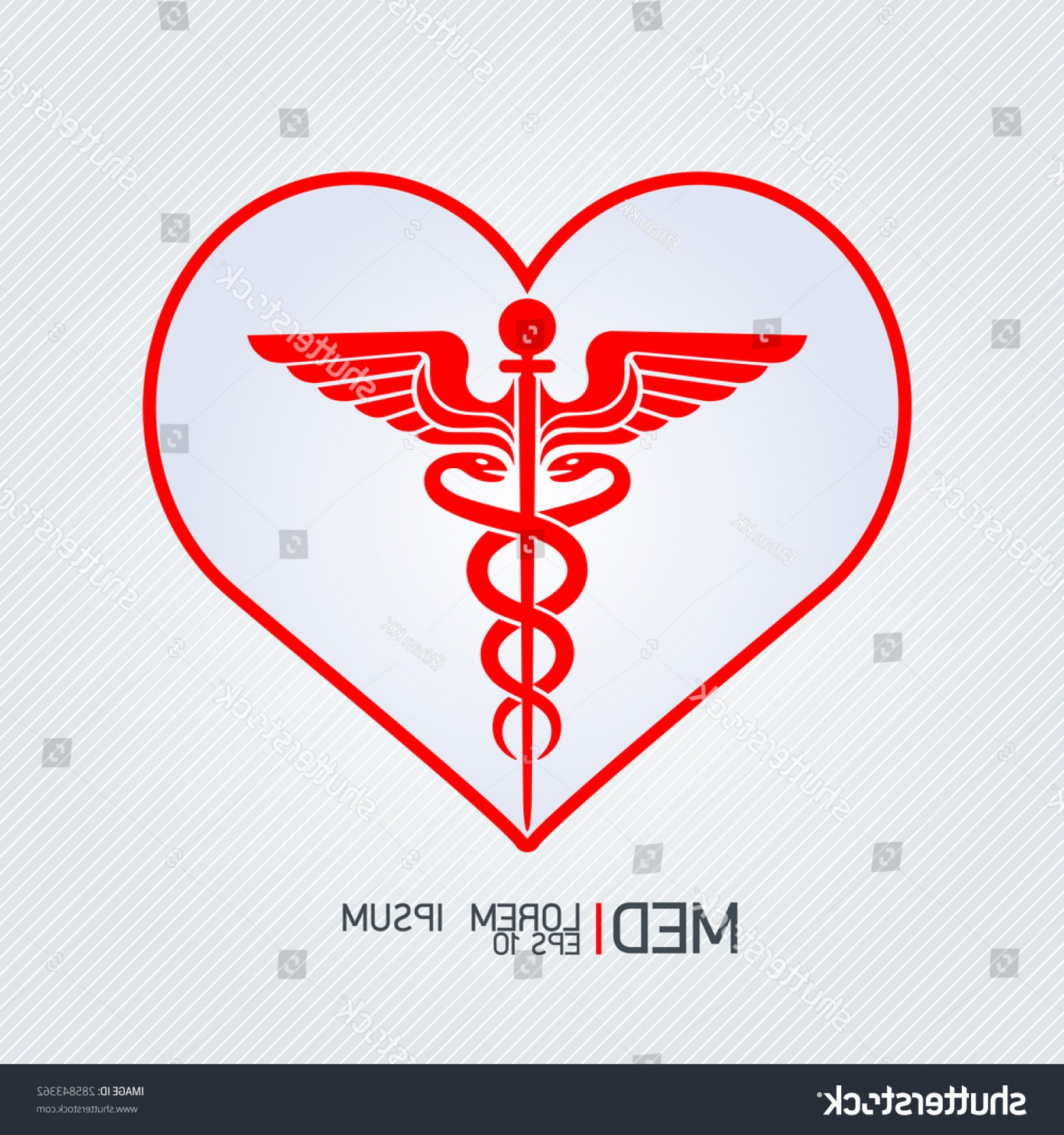 With Red Caduceus Vector: Caduceus Sign Red Heart Medical Icons