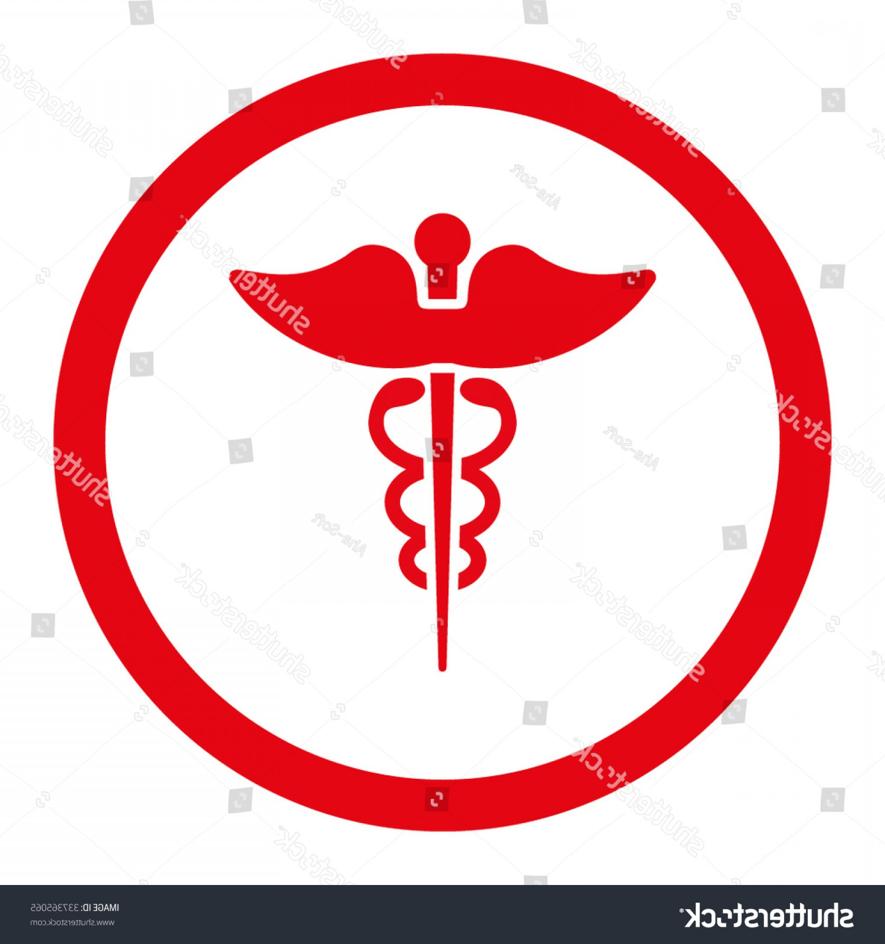 With Red Caduceus Vector: Caduceus Vector Icon Style Flat Rounded