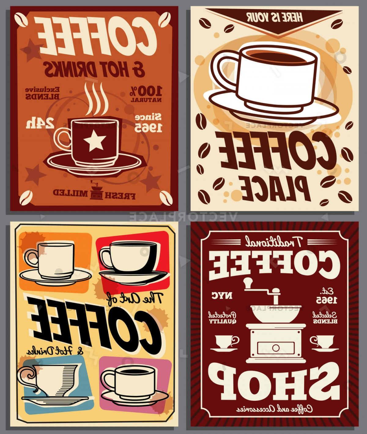 Retro Poster Vector: Cafe Restaurant Retro Posters Templates Coffee Vector Illustration