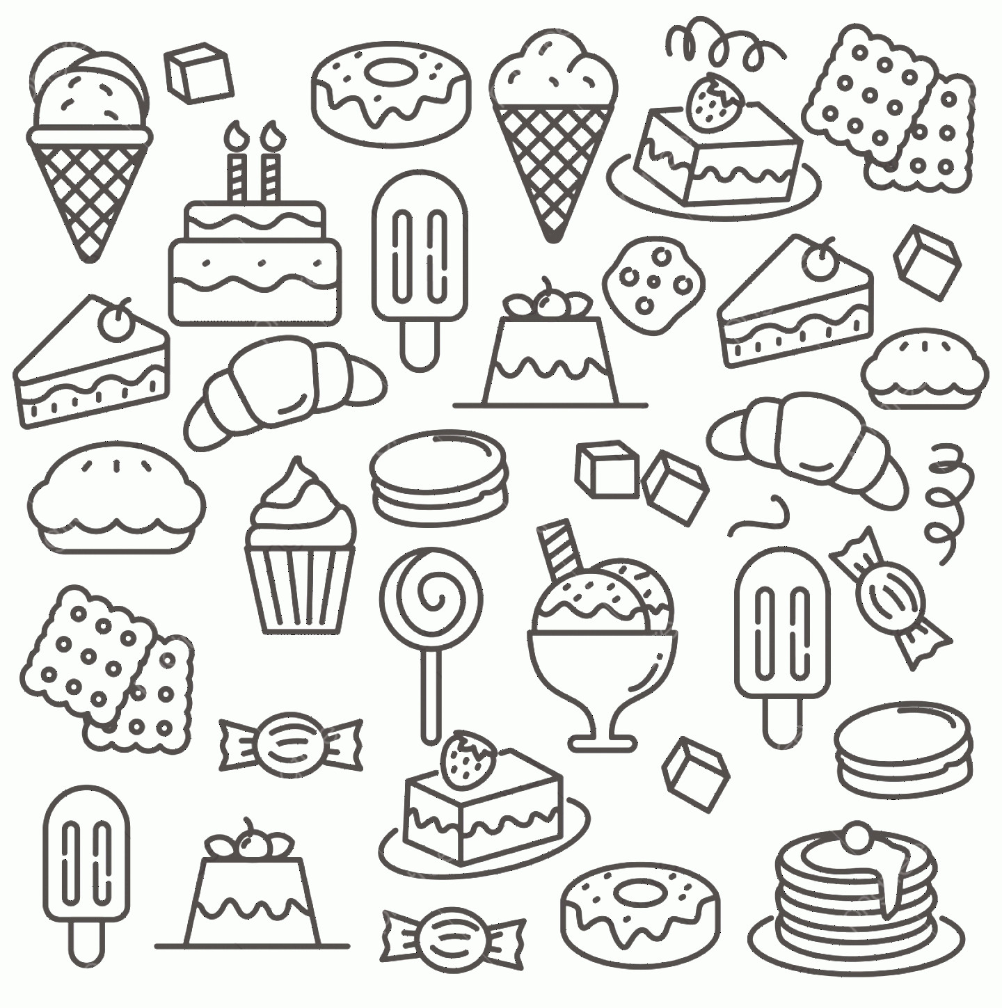 Vector Abstract Art Cake: Cake And Dessert Doodle Vector Suitable For Background Set Of Cake And Dessert Vector Illustration With Line Design