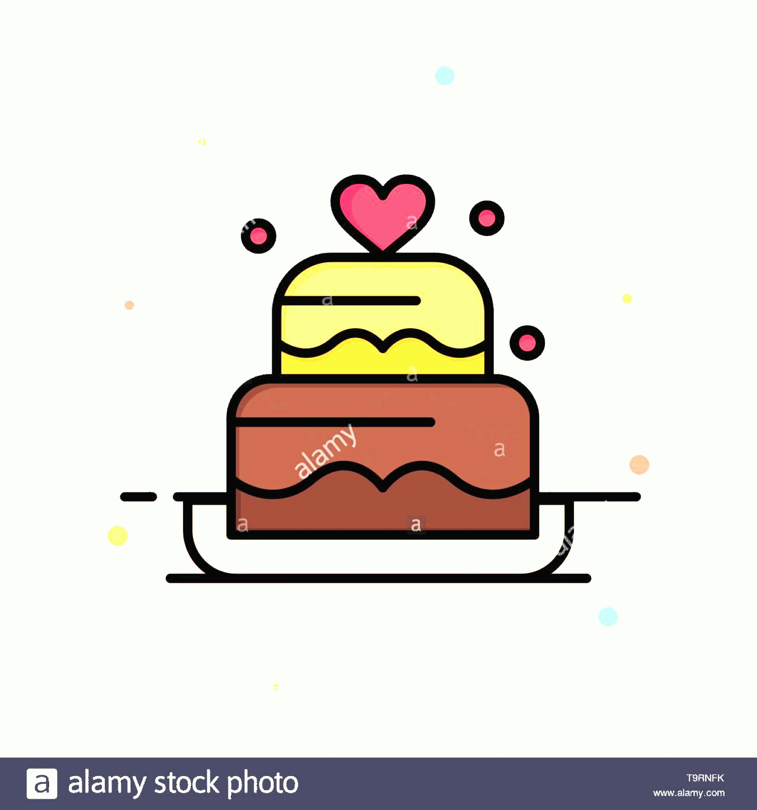 Vector Abstract Art Cake: Cake Love Heart Wedding Abstract Flat Color Icon Template Image