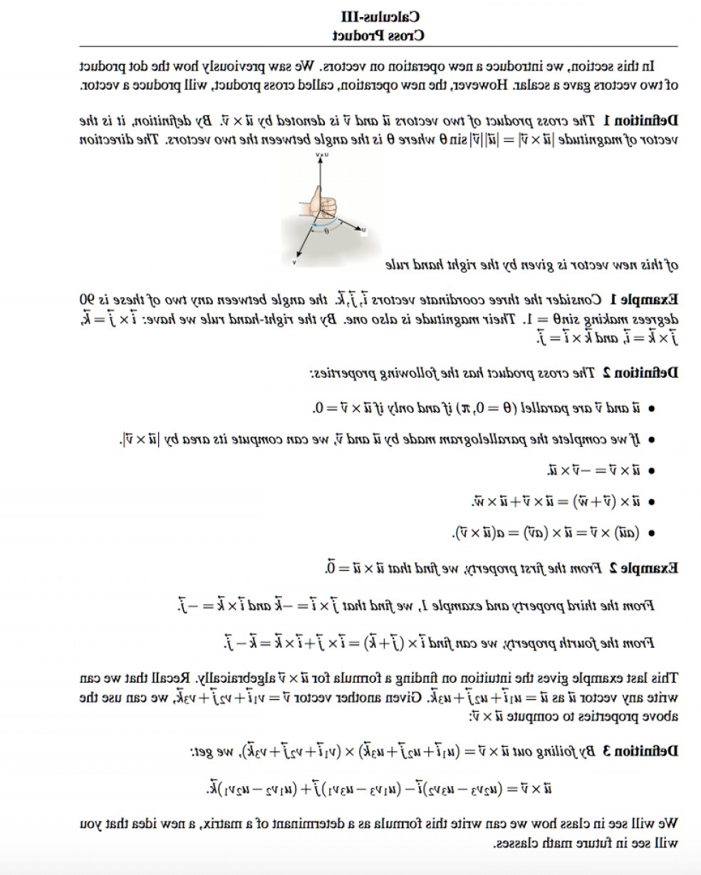 Vector Angle Properties: Calculus Iii Cross Product Section Introduce New Operation Vectors Saw Previously Dot Prod Q