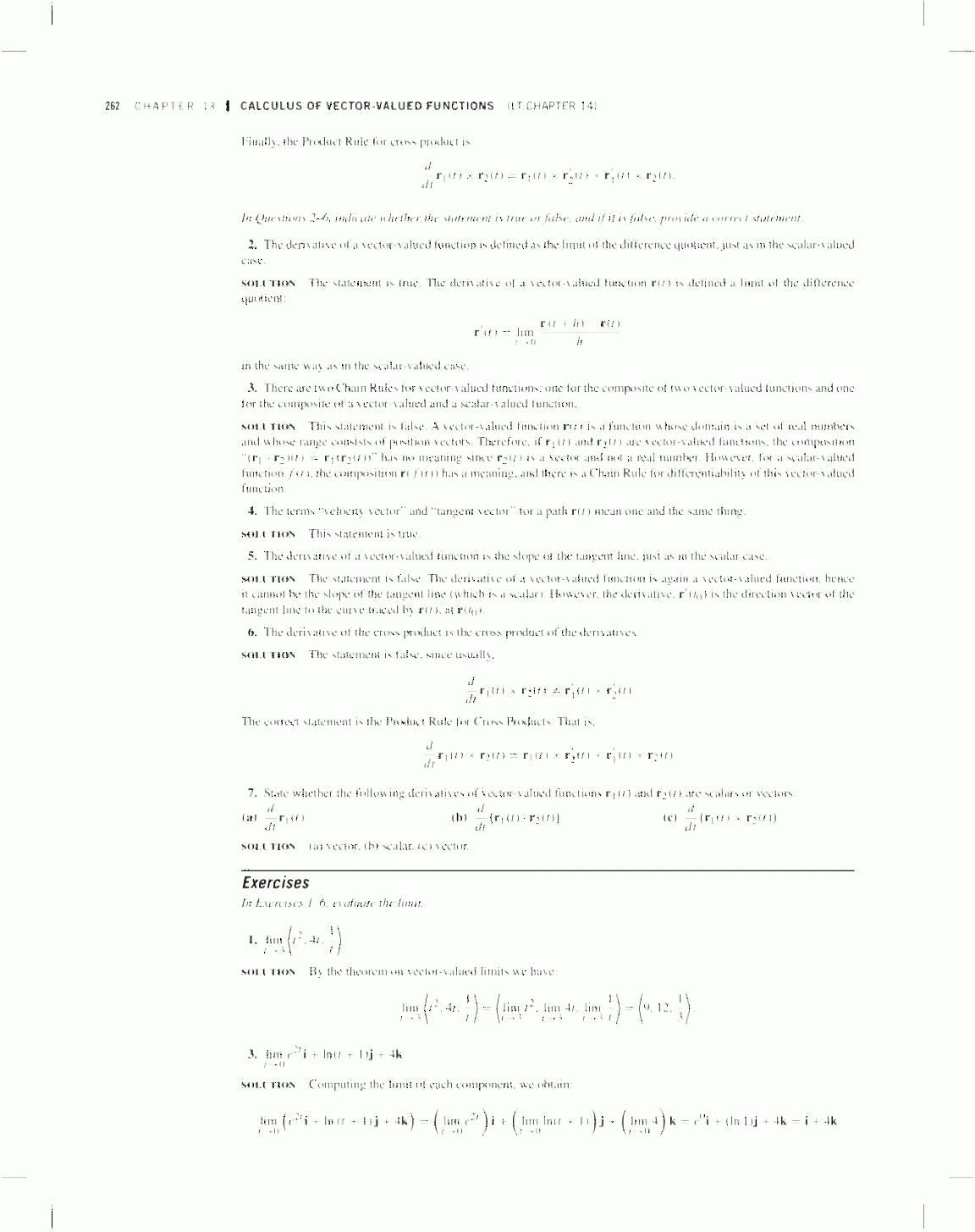Vectors And Vector Valued Functions: Calculus Of Vector Valued Functions