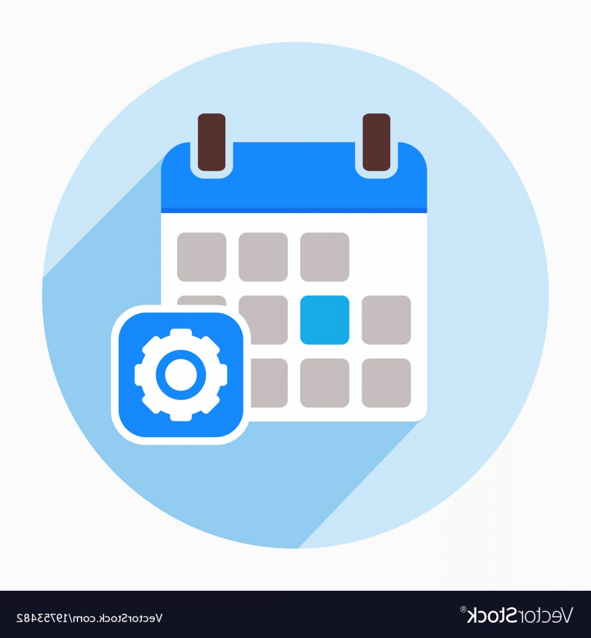 Vector Configuration: Calendar Configuration Gear Options Settings Icon Vector