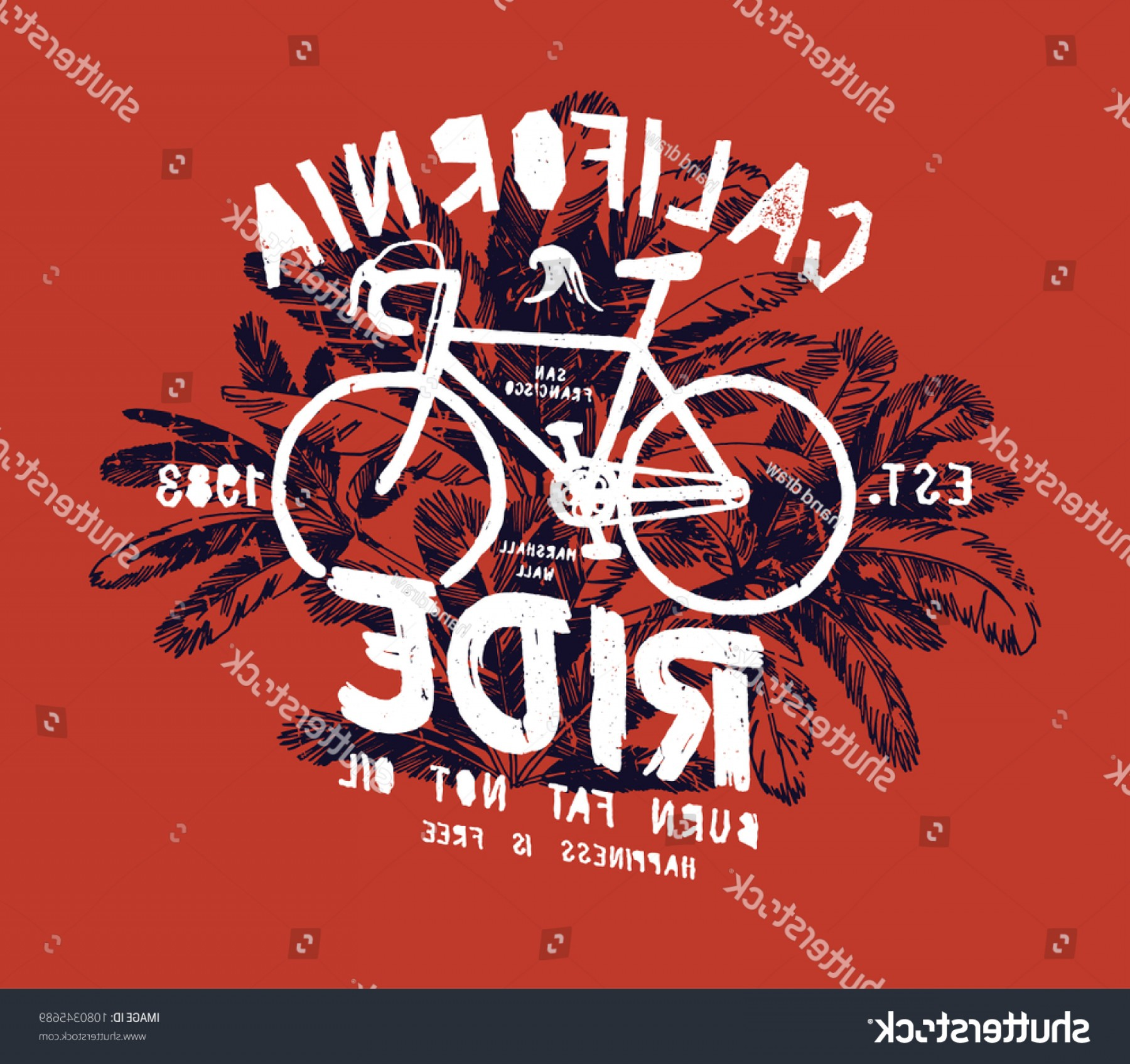 California Lifestyle Vector: California Bicycle Ride Fixie Bike Palm