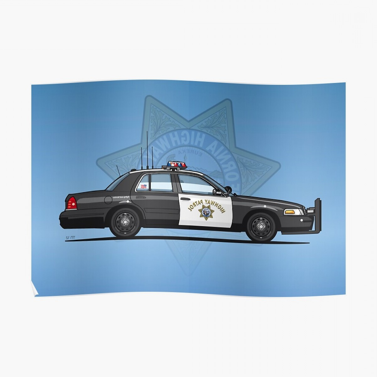 Custom Police Cars Vector: California Highway Patrol Ford Crown Victoria Police Interceptor