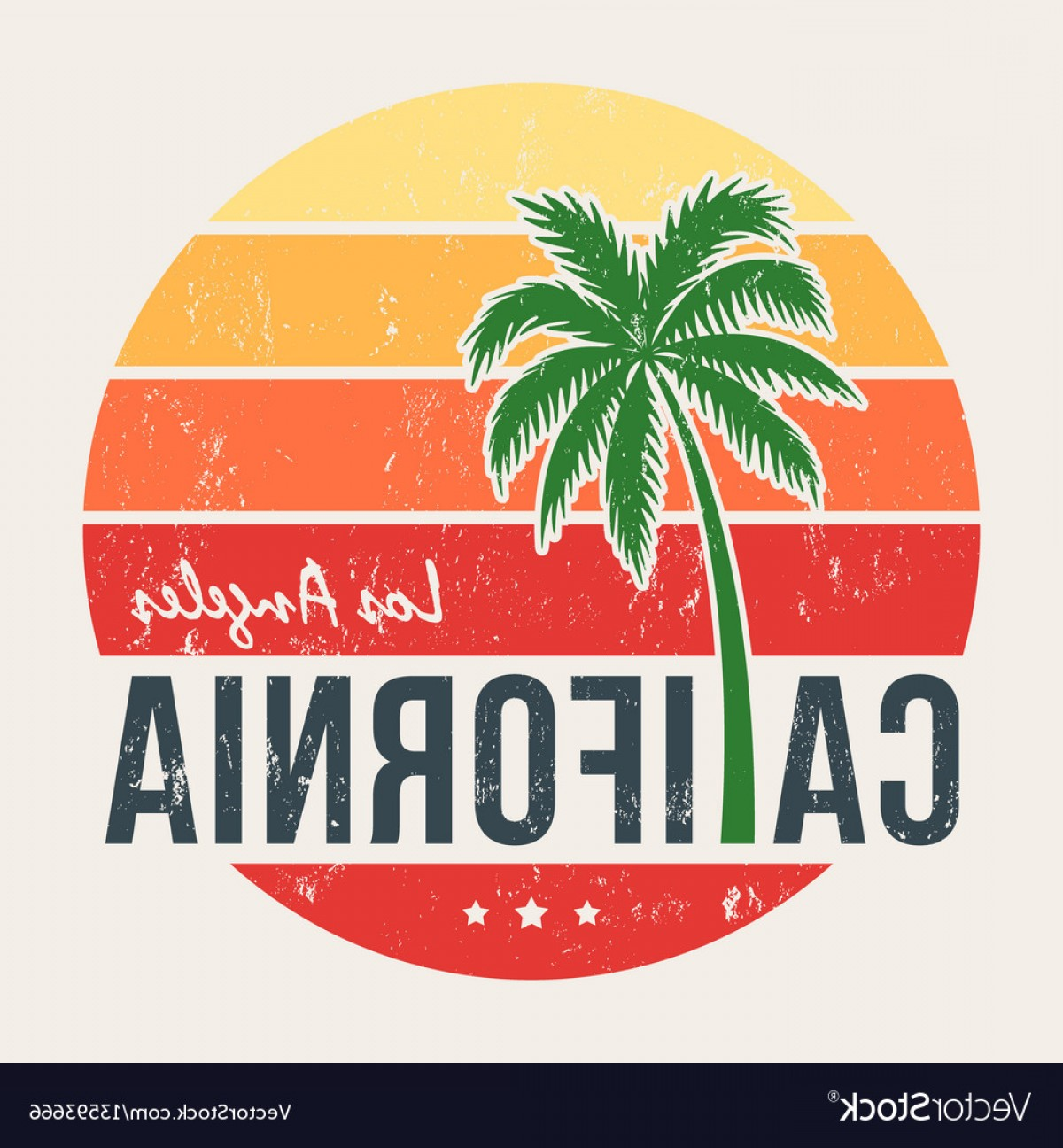 California Lifestyle Vector: California Tee Print With Styled Palm Tree Vector
